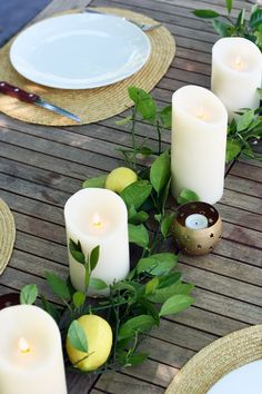 a summery table centerpiece 2019 – summer decor summer dessert 2020 Rustic Candles, Rustic Table, Branch Centerpieces, Centrepieces, Rustic Italian, Al Fresco Dining, Deco Table, Decoration Table, Baby Shower