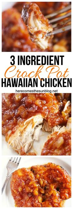 This crock pot Hawaiian chicken has only three ingredients and is super easy to make. Get dinner on the table with this tasty recipe. Crockpot Hawaiian Chicken, Crockpot Boneless Chicken Recipes, Hawiian Chicken, Barbeque Chicken Crockpot, Tasty Chicken Recipes, Orange Chicken Crock Pot, Slow Cooker Chicken Pineapple, Porkchop Recipes Crockpot, Pinapple Chicken Recipes