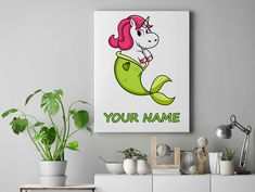 Half Mermaid half Unicorn Personalized unicorn canvas wall decor for kids personalised unicorn canvas ready to hang on the wall picture by funkytshirtsfactory on Etsy Unicorn Wall, Canvas Wall Decor, Canvases, Picture Wall, Mermaid, Cool Stuff, Kids, Pictures, Handmade