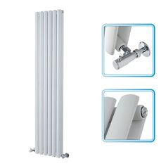 1600mm x 354mm - White Upright Double Panel Designer Radiator - Oval Tubes - Image 1