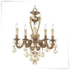Livex Chateau 8655-65 Chandelier - Vintage Gold Leaf - 25.75W in.