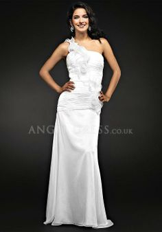 Chiffon One Shoulder A line Dropped Floor Length With Ruffles Prom Dress