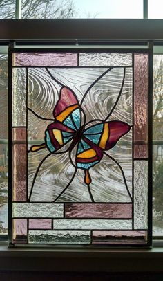 Butterfly Stained Glass Window Panel Glass by StainedGlassYourWay #StainedGlassDragonfly
