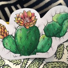 @melancoleen their awesome prickly pear illustration done with the Chameleon Pens #botanical #cactus