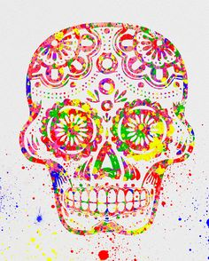 Day of the Dead, Sugar Skull Watercolor Art