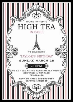 French High Tea Invitation Black and Pink Printable by Westminster Paper Co.