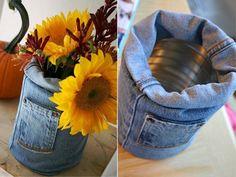 Jeans leg & pocket & tin can flower vase