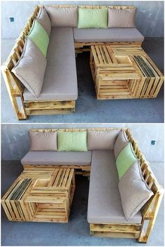Enhance the grace of your lounge and give it a charming looking with this recycled pallet couch with pallets table. It is simple and marvelous pallets project. We have crafted this pallet plan for your ease and comfort in your home.