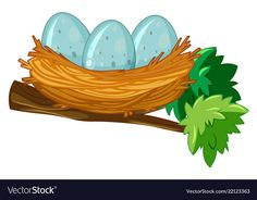 Egg on the nest Royalty Free Vector Image - VectorStock Egg Vector, Vector Art, Branch Vector, Bird Clipart, Alphabet Pictures, Colorful Parrots, Bird Book, Leaves Vector, Flower Bird