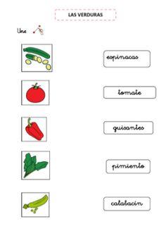 Aprender los alimentos. Lectoescritura.