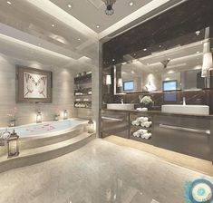 Your bathroom is the place where you can lock the door and relax, so make it a place of pure luxury. These stunning luxury bathrooms bring inspiration luxus, 50 Luxury Bathrooms And Tips You Can Copy From Them Dream Home Design, Modern House Design, Home Interior Design, Mansion Interior, Luxury Interior, Interior Decorating, Decorating Ideas, Dream Bathrooms, Beautiful Bathrooms