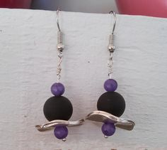 Hook earrings with matt black glass bead purple by GIASEMAKI Amethyst Gemstone, Purple Amethyst, Bead Earrings, Gemstone Earrings, Black Glass, Gift Guide, Glass Beads, Dangles, Handmade Items
