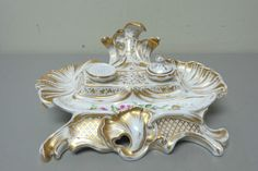 ANTIQUE 19th C. OLD PARIS FRENCH PORCELAIN DOUBLE INKWELL / INKSTAND, c. 1860