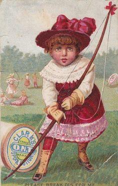 Clark's Thread Pretty Girl Archer Archery Antique Victorian Trade Card | eBay