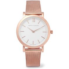 Larsson & Jennings Liten rose gold-plated watch ($380) ❤ liked on Polyvore featuring jewelry, watches, accessories, bracelets, jew, roman numeral jewelry, swiss quartz watches, rose gold plated jewelry, roman numeral watches and water resistant watches