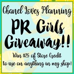 In honor of adding three new PR Girls to the Chanel Loves Planning Team we are having a give away to three people and each will receive $25 credit to use on ANY items in her Etsy shop!! Each of the PR Team girls will be selecting one winner from their followers.  To enter: 1. Repost the photo with the hashtag #CLPPrGirlsGiveaway 2. Be following @ChanelLovesPlanning on Instagram  3. And be following at least one of these girls (@life.with.garrie @planner_addict1001 @nataliasglamlife). The…