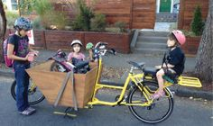 Emily Finch's family gets ready to ride on her custom-built bicycle built for six. http://www.metro-parent.com/the-long-haul-jan15/