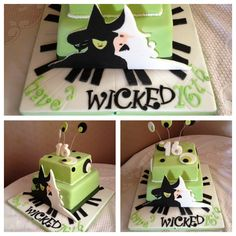 Wicked themed musical cake for musical theatre student!