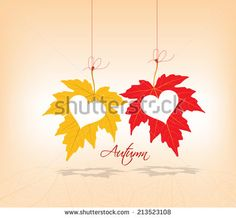autumn leaves background couple hearts - stock vector