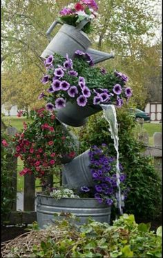 Tipsy Flower Tower with galvanized pots