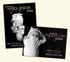Birth Announcement - Simple Black & White -
