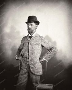 Victorian Man Poses In Fashion Attire 8x10 Reprint Of Old Photo