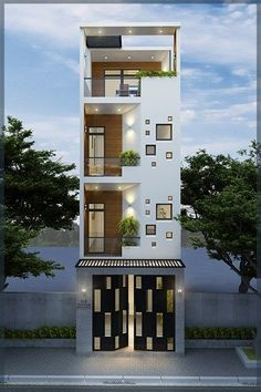 Super home design exterior luxury spaces Ideas House Outside Design, House Front Design, Small House Design, Small House Exteriors, Modern House Facades, Narrow House Designs, House Design Pictures, Model House Plan, Architectural House Plans