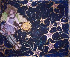 Faerie In Nightime Sky Painting  - Faerie In Nightime Sky Fine Art Print