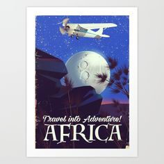 Travel into Adventure! Africa vintage cartoon flight vacation poster.