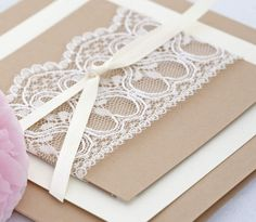 coffee and cream lace wedding invitation detail