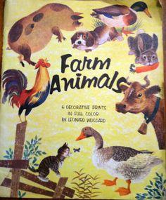Vintage 1958 Penn Prints entitled Farm Animals by SheepishDelights, $110.00