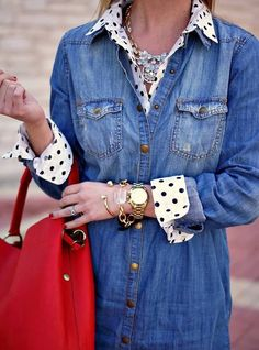Outfit ideas. Denim shirt. Polka dots shirt. Red bag. Online Layers by Because Shanna Said So