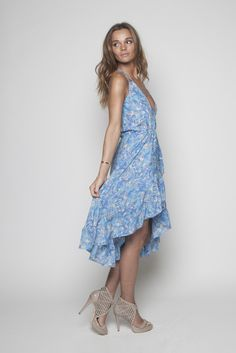 Blue Splash Ruffle Wrap Dress