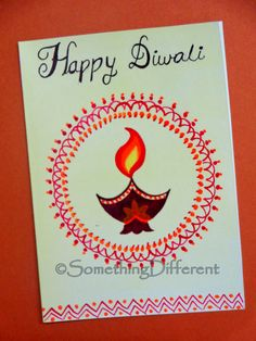 Diwali Greeting Card Handmade Diwali Greeting Cards, Diwali Cards, Diwali Greetings, Diwali Gifts, Happy Diwali, Handmade Birthday Cards, Handmade Cards, Diwali Drawing, Diwali Festival