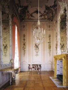 "The private writing room of the royal quaters at the New Palace (literally across the park from Sanssouci). Features beautiful painted wood paneling and an unusual porcelain framed mirror above the fireplace. The writing table is covered in tortoise shell and silver plated bronze overlays. Image from ""Potsdam"" by Gert Streidt (author) and Klaus Frahm Potsdam  Art Architect"