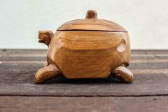 Small Vintage wooden Handcrafted turtle container by SURPRISEu