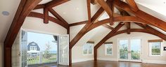 Timber Frame Truss w/ Bent Lower Chord Wood Truss, Wood Beams, Timber Frames, Timber Frame Homes, Tiny House Builders, Little Cottages, Timber Structure, Roof Trusses, Curved Wood