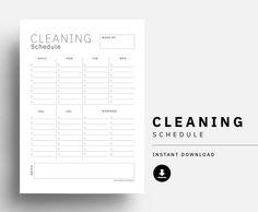 Clean schedule printable weekly house clean checklist | Etsy