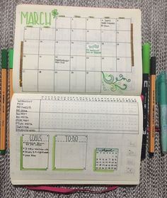 Monthly Layout for Bullet Journal with calendar and habit tracker