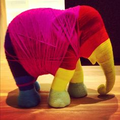 One of our favorite props so far, a yarn elephant at the @Vitra Furniture booth #salonesatellite #milan2012