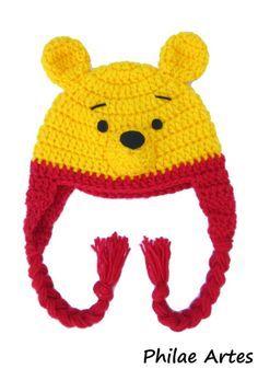 Pooh, ursinho, beanie, hat, crochet croche, crochê, cartoon - by Philae Artes
