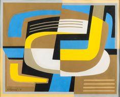 "Sam Vanni (b. 1908 - d. Finnish), ""Sommitelma"", Gouache, Size: 41 x 50 cm. Abstract Art, Abstract Paintings, Bukowski, Modern Art, Contemporary, Gouache, Landscape Paintings, Color Blocking, Symbols"