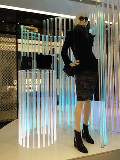 Even with the temps soaring into the Chanel SoHo is gearing up for the arrival of cooler weather. Window Display Design, Shop Window Displays, Fashion Retail Interior, Display Lighting, Clothing Displays, Wind Jacket, Shopping Chanel, Visual Display, August 15