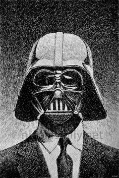 Darth Vader portrait. Drawing By Nicolas Jolly. India ink and nib.