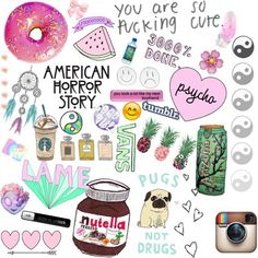 american horror story, arizona, arrow, chanel, donut, dream catcher, emoji, food, instagram, mtv, nutella, pugs, starbucks, tumblr, vans, vibes, watermelon, ying and yang, pinnapple