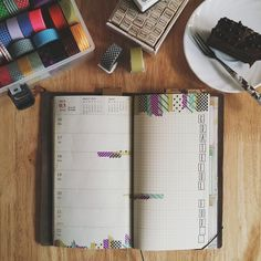 #midorimornings 75/365 This week's deco (shamelessly cribbed from something the always-inspiring @sealed_with_washi did a while back!) accompanied by *awesome* Nutella cake from the hubs. I like using the right page of my weekly spreads as a quick gratitude or best-thing-about-today journal.  P.S. Giveaway winner to be announced soon! Sorry been rather tied up, please give me just a little while more!