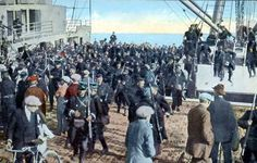 In the first month of the war the Belgian army became scattered, but it gradually reassembled.  This (American) picture shows them landing at Zeebrugge harbor.
