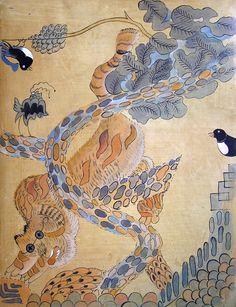Korean Painting, Painting & Drawing, Tiger Face, Korean Art, Oldies But Goodies, Calligraphy Art, Japanese Art, Vintage World Maps, Oriental
