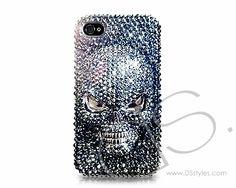 Scary Skull 3D Bling Swarovski Crystal Phone Case - Black