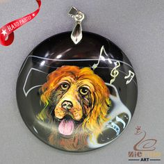 Hand Painted Ccker spaniel Pendant  Necklace Gemstone With Silver Bail ZL807209 #ZL #Pendant